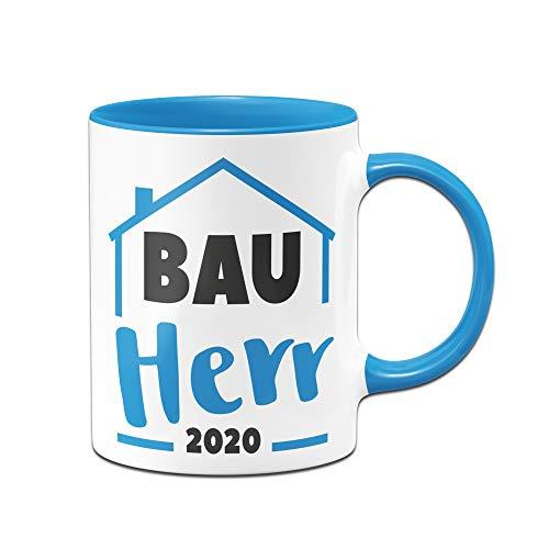 Tassenbrennerei Tasse mit Spruch Bauherr 2020 - Geschenk Richtfest, Einweihung, Hausbau (Blau, 2020)