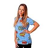 HOOPOE Camiseta Cómic Mujer, Manga Corta, Running, Gimnasio #Comic Talla S