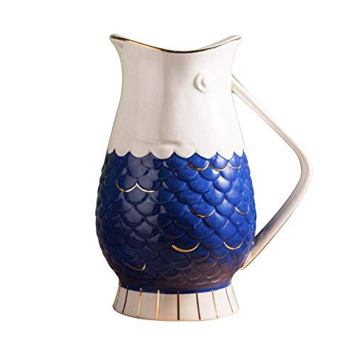 SYue Cruche de Jardin en céramique en Forme de Poisson de 1636 ML, pichet adapté pour Servir Le Lait de café d'eau Froide et la Carafe de Barre de Boisson de jus