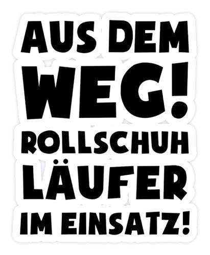 shirt-o-magic Aufkleber Rollschuhe: Rollschuhläufer im Einsatz! - Sticker - 5x5cm - Weiß