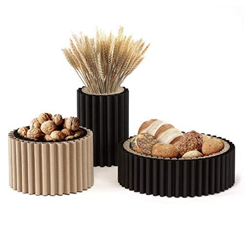 Centrotavola Portafrutta cArtù Wave: set di 3 contenitori per pane, frutta, noci, grissini, fiori secchi o altri elementi. Colori: avana e nero. Grande: D32 x 10H, Medio D23 x H14cm, Alto D15 x H21cm