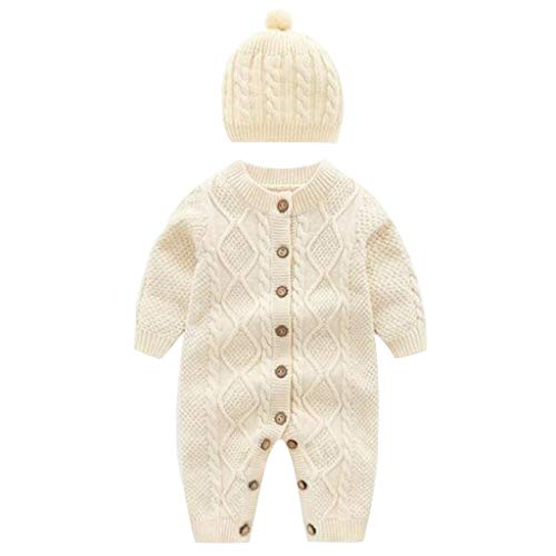 Miss Fortan Baby Mädchen Einfarbig Langarm Overall ,Pullover Gestrickte Gemustert Homesuit Babykleidung Strampler Baby Body Bekleidungssets Outfit Set 0-18M