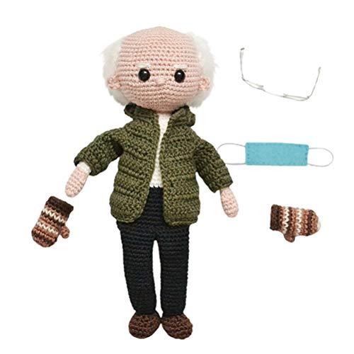 Kangmeile Muñeco de Peluche Bernie Sanders Mittens Crochet amigurumi inauguración Conmemorativa de Punto de Peluche de Juguete Figura de Peluche muñeca Regalo