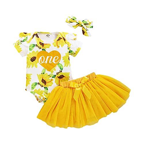 Conjunto de 3 piezas para nia de beb, vestido de princesa, pelele, disfraz de nio, parte superior + falda de gasa + diadema para el pelo de 0  24 meses amarillo 0- 6 Meses