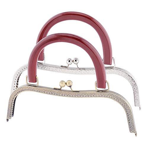 PandaHall Marco de cierre de bolsa de 25,4 cm, marco de metal grande, con cierre de beso y mango de madera, para manualidades, costura, manualidades