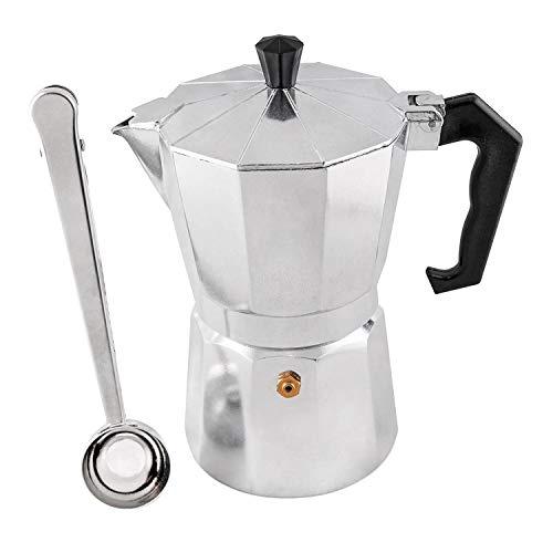 Timagebreze Moka Pot 300Ml 6 Cup Herd Espresso Maschine mit Kostenlosem Edelstahl Kaffee Clip L?Ffel, Aluminium, Silber