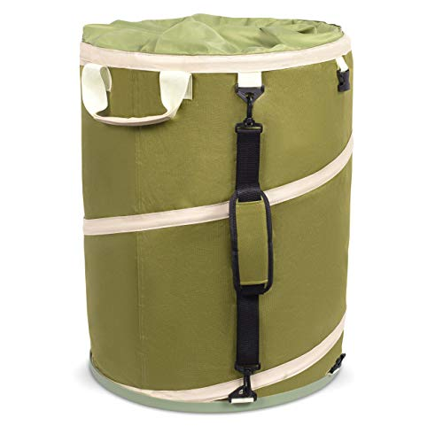 BirdRock Home 30 Gallon Collapsible Lawn and Leaf Waste Bag - Reusable Camping Trash Can - Heavy Duty - Hardshell Bottom - Green - Yard Debris - Lid - Garage Storage - Outdoor Tote Basket - Handles - Gardening Container