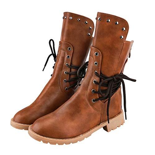 Damen Reitstiefel Damen Hof Reitgurt Schuhe Niedrige Ferse Kampf Military Fashion Winter Mid Lether Stiefel