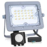 Aigostar - Foco LED ultrafino con sensor de movimiento,20W,luz blanco natural 4000K,impermeable IP65.Luz para exterior de gran luminosidad 1800lm para jardines, patios, garajes o caminos de acceso