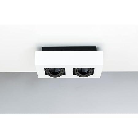 Spot plafond double en saillie OSMIN 2 blanc IP20 carré, spot plafond blanc en métal, éclairage plafond moderne, EDO777145 EDO