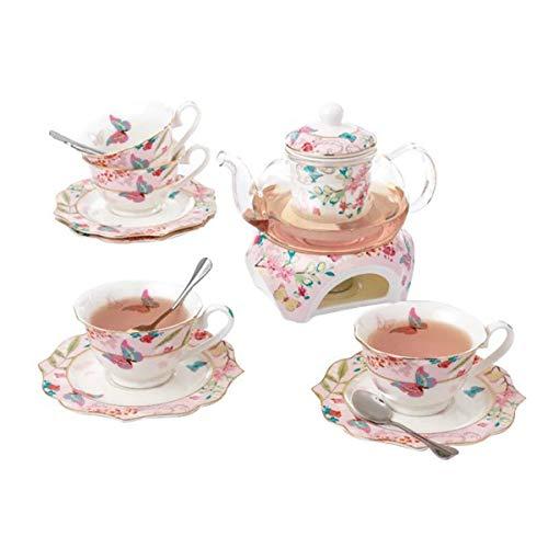 YBK Tech Kaffeekanne, Teekanne und Untertasse aus feinem Porzellan, mit Stövchen und Tee-Ei – Schmetterling-Design (Tee für 4)