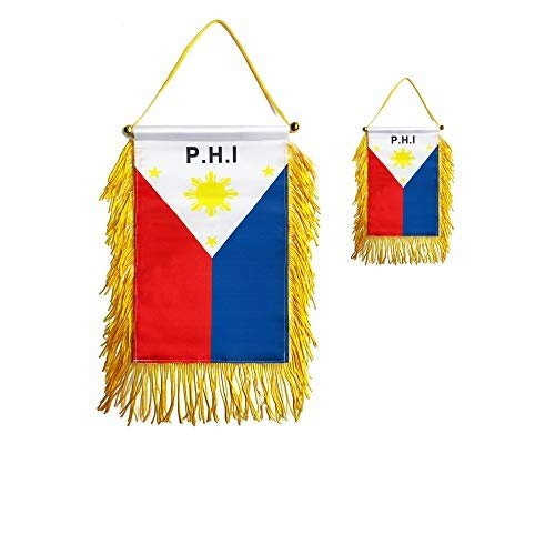 GentleGirl.USA 2 Pack Philippines Car Flag Window Hanging Flag, With Stick no Suction Cup Small Mini Filipino Rearview mirror Banner Flags, International Festival Party Parade,car Home Decoration