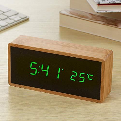 ZHANGJ Bambus Holzspiegel Wecker Temperatur Sound Control Desktop-Uhr Mit Digitaluhr Elektronische Led-Uhr, Greenled Wecker