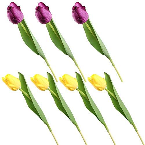 Dorime 7pcs / Realsoft montón de Silicona Tulipanes de Flor Artificial para el hogar Boda DecorationBridal Mano Flores Flores del tulipán