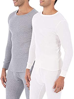 Fruit of the Loom Men's Classic Midweight Waffle Thermal Underwear Crew Top (1 & 2 Packs) (Medium, Light Grey Heather/Natural)