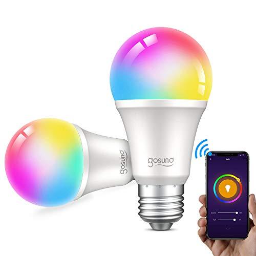 Gosund Lampadina Smart E27 Wifi Intelligente Dimmerabile RGB Risparmio Energetico Luci,16 Milioni di Colori,Compatibile con Alexa e Google Home,Buona Dissipazione del Calore,2.4GHz,(2PCS).