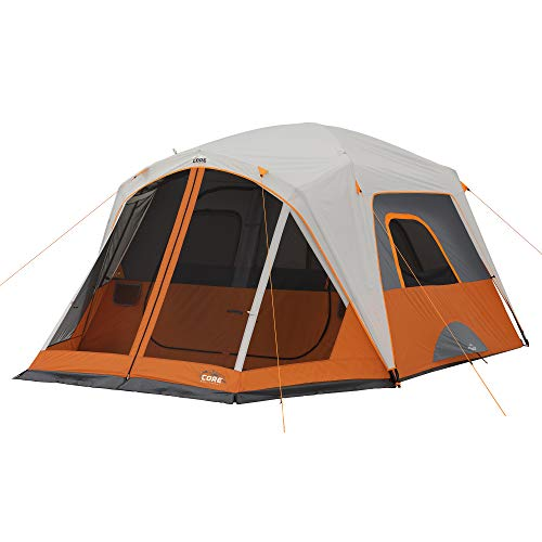 CORE 4/6/6 Person Straight Wall Cabin Tents (6 Person with Screen Room)
