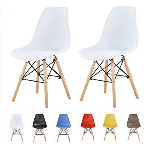 MCC Retro Design Stühle LIA Esszimmerstühle im 2er Set, Eiffelturm inspirierter Style für Küche, Büro, Lounge, Konfernzzimmer etc, 6 Farben, Kult (Weiss)