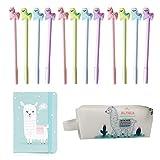 Amycute 14 piezas Set de Papelería Lindo Alpaca, Cuaderno Estuche Lápiz y azul rosa morado Bolígrafo Gel Pens para Regalo de Niños Escuela