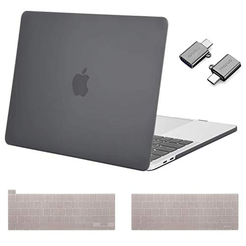 MOSISO MacBook Pro 13 inch Case 2016-2020 Release A2338 M1 A2289 A2251 A2159 A1989 A1706 A1708, Plastic Hard Shell &Keyboard Cover &Type C Adapter Compatible with MacBook Pro 13 inch, Gray