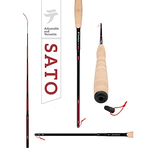 """Tenkara USA Fly Fishing Sato Rod, for Large & Small Fishes - Carbon Fiber, Lightweight, Telescopic, Adjustable, 3 Multi-Lengths (10'8""""/ 11'10""""/ 12'9"""")"""