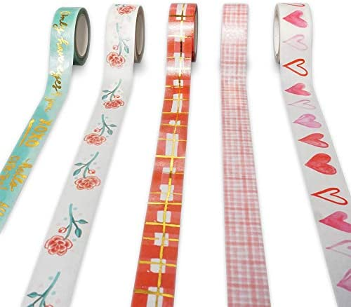 Navy Peony Valentine Hearts Love Quotes Washi Tape Set 4 Rolls 1 10 inches by 16 feet Gold Foil product image