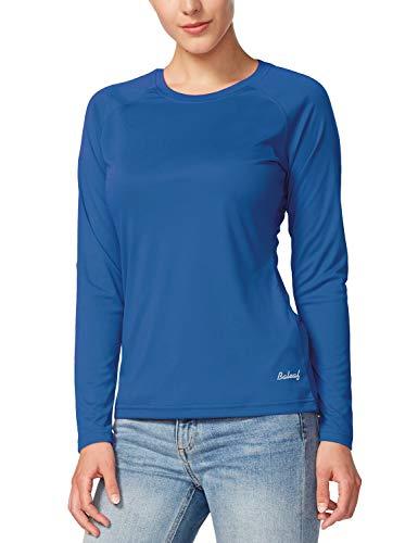 BALEAF Damen-Langarm-Shirt, LSF 50+, Sonnenschutz, LSF, schnelltrocknend, leicht, für Outdoor, Wandern, Laufen, Angeln - A01-Ozeanblau, size: Groß