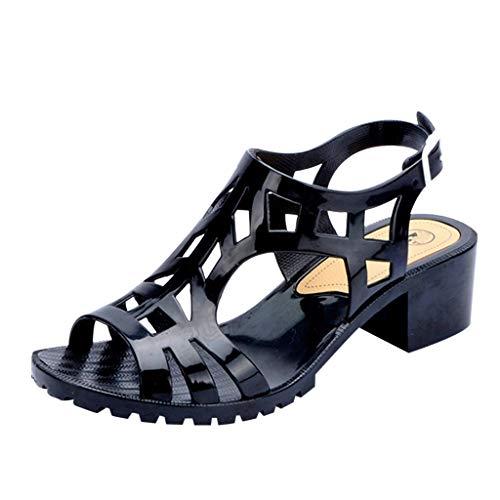 Sandalias de verano para mujer, con puntera abierta, tacones de pezuña, hebillas, estilo casual, PVC (negro/37)