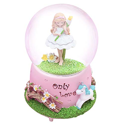 HIKEL Music Box Snow Globes Flower Fairy and Unicorn Base Luminous Water Globe for Childrens Girls Gift Holiday Day Best Gifts