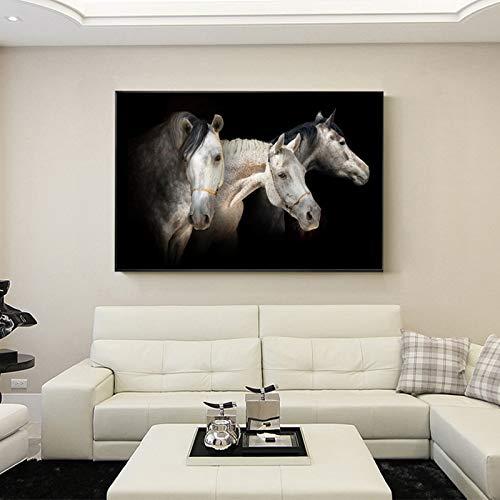 ganlanshu DREI Pferdeköpfe auf modernem Tierplakat und Gedruckter Wandleinwand, Wohnzimmerdekoration,Rahmenlose Malerei,40X60cm