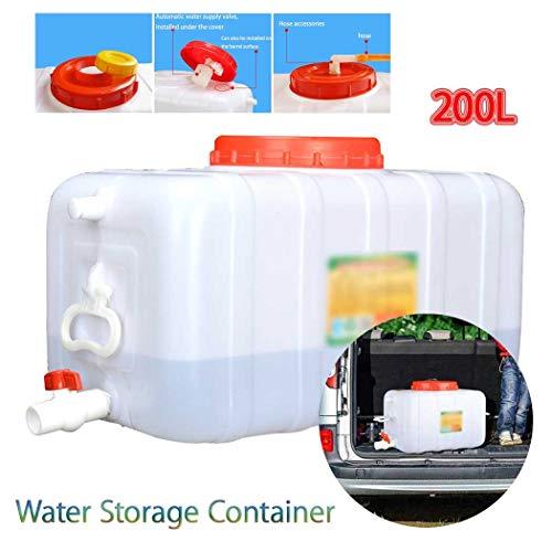Almacenamiento de Agua para Acampada Contenedor De Agua Portátil Tanque Bidón Plástico con Grifo, 200L Tanque de Almacenamiento Agua, Adecuado para Coches de Viaje Recipiente de Almacenamiento de Agua