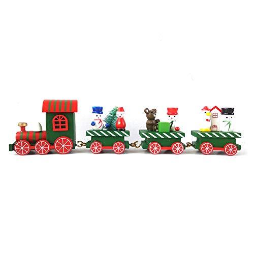 farmer-W Jouets de Noël en Bois pour très, Train de Noël en Bois de 4 Sections, Petit Train, décoration de Train en Bois, décoration de fenêtre Cadeau pour Enfants de Dessins animés Vert