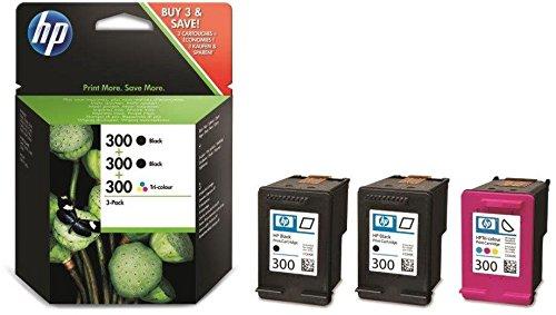 HP 300 Multipack Original Druckerpatronen (2x Schwarz, 1x Farbe) für HP Deskjet D1660, D2560, D2660, D5560, F2480, F4224, F4280, F4580; HP ENVY 110, 114, 120, HP Photosmart C4680, C4780