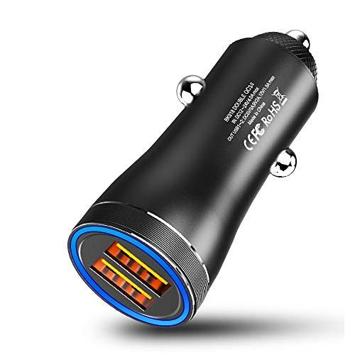 MEIDI Cargador Coche Carga Rapida Puertos QC3.0 USB Adaptador mechero Coche a Enchufe, Todo Metal Cargador movil Coche - Negro