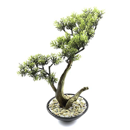 Tuokor Artificial Bonsai Tree 10.5 Inch Tall Small Docorative Cypress Faux Plants in Ceramic Pot