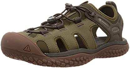 KEEN Men's SOLR High Performance Sport Closed Toe Water Sandals, Dark Olive/Taupe, 10
