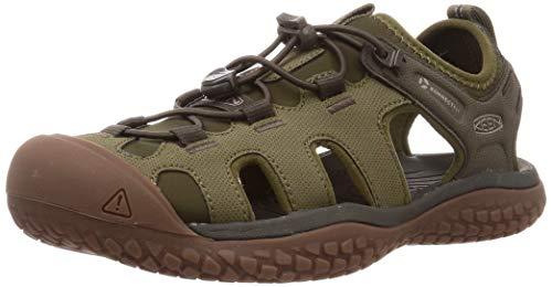 KEEN Solr Hochleistungs-Sport-Sandalen für Herren, geschlossener Zehenbereich, Grn (Dunkeloliv/Taupe), 42 EU