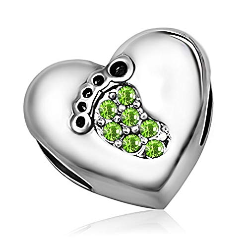 KunBead Grandmother Granddaughter Heart August Birthstone Green Crystal Birthday Charms Grandma Charm