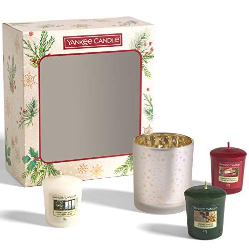 Yankee Candle confezione regalo   Candele profumate natalizie   3 candele sampler e 1 porta candela sampler   Collezione Magical Christmas Morning