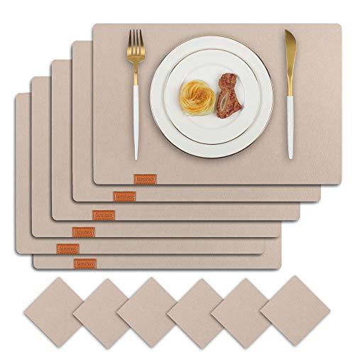 Famibay Filz Platzsets mit Untersetzer Absorbierend Hitzebeständig Tischsets 6er Set für Küchentisch(Beige)
