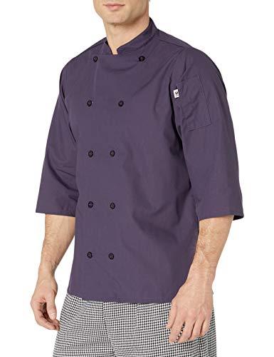 Uncommon Threads Unisex  Epic 3/4 Sleeve Chef Shirt, Eggplant, 2X-Large
