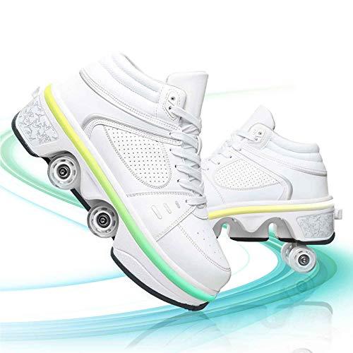 DUDUCHUN Zapatos deportivos para mujer, zapatos de patinaje, unisex, para principiantes, interruptor de seguridad, viene con 7 colores LED intermitentes, color blanco, 37