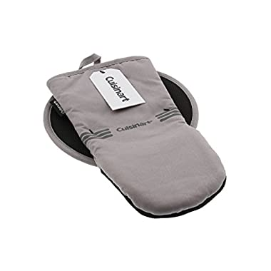 Cuisinart Puppet Oven Mitt & Round Potholder Set w/Neoprene for Easy Gripping, Heat Resistant up to 500 degrees F, Grey