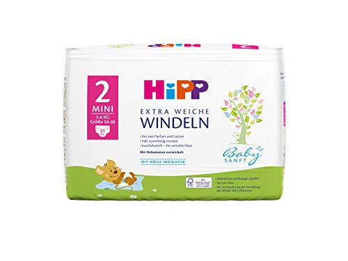 Hipp Babysanft Windeln Carry Größe 2 (Mini, 3-6 kg), 9x31 Stk.(279 Stück)