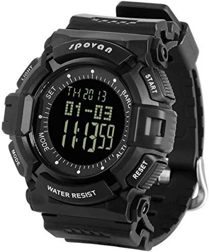 JSL Reloj deportivo para hombre, barómetro, altímetro, termómetro y cronómetro, 5 ATM, resistente al agua, color negro