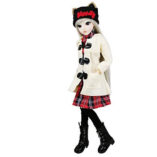 EVA BJD Doll 1/3 sfera meccanica snodato bambola con L'Insieme completo di Vestiti cappotto Scarpe Calze Capelli Pantaloni Accessori, Altezza 1.9ft 23in (Selena)