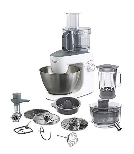 Kenwood KHH326 - Robot de cocina multifunción 1000 W, 4.3 L, mezcla, bate, amasa, batidora de vaso 1.5 L, procesador alimentos 1.4 L, 3 discos, exprimidor, picadora, licuadora, plata/blanco