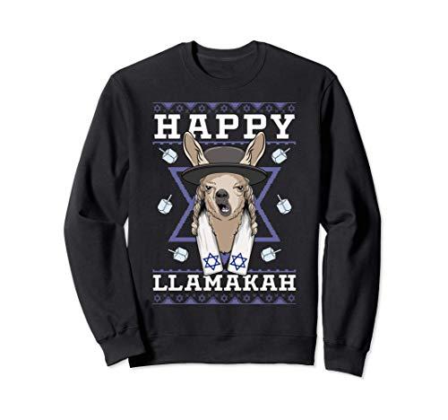 Happy Llamakkah Jewish Llama Hanukkah Menorah Ugly Christmas Sweatshirt