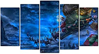 Horgan Art Christmas Decorations Canvas Wall Art, Santa Claus Reindeer with Present Prints on Canvas Framed Artwork - 5 Panel (Ready to Hang)