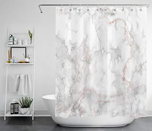 LB Marmor Duschvorhang Antischimmel Wasserdicht Badezimmer Gardinen Grau weiß 150x180cm Polyester Bad Vorhang mit Haken